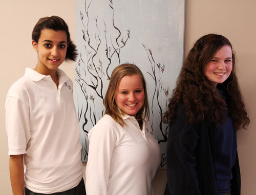 Pictured here: Vanessa Rosenthal '14 of South Buffalo, Simona Lukasik '14 of Parrysburg and Emma English '14 of Hamburg