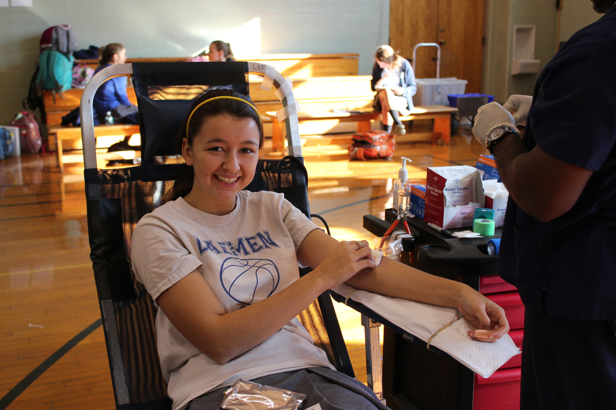 Senior Nicole Fitzgerald donating blood