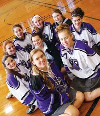 The Monsignor Martin hockey team consists of nine Mount Mercy Academy students including: Brianna Gawronski, Catherine Radwan, Madeline Stoklosa, Katherine Lauber, Shannon Moran, Brigid Keane, Julia Ahr, Abigail Krug and Erin Stoklosa.